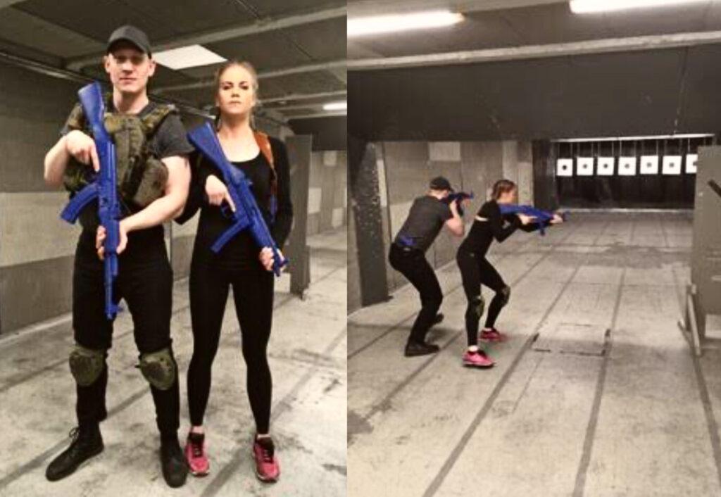Stunttityössä harjoitellaan aseiden oikeanlaista käyttöä.